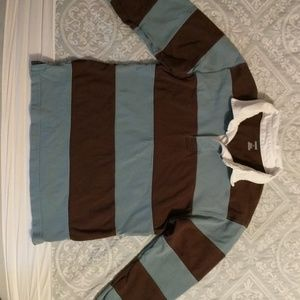 Boys slate blue and brown Gymboree rugby shirt